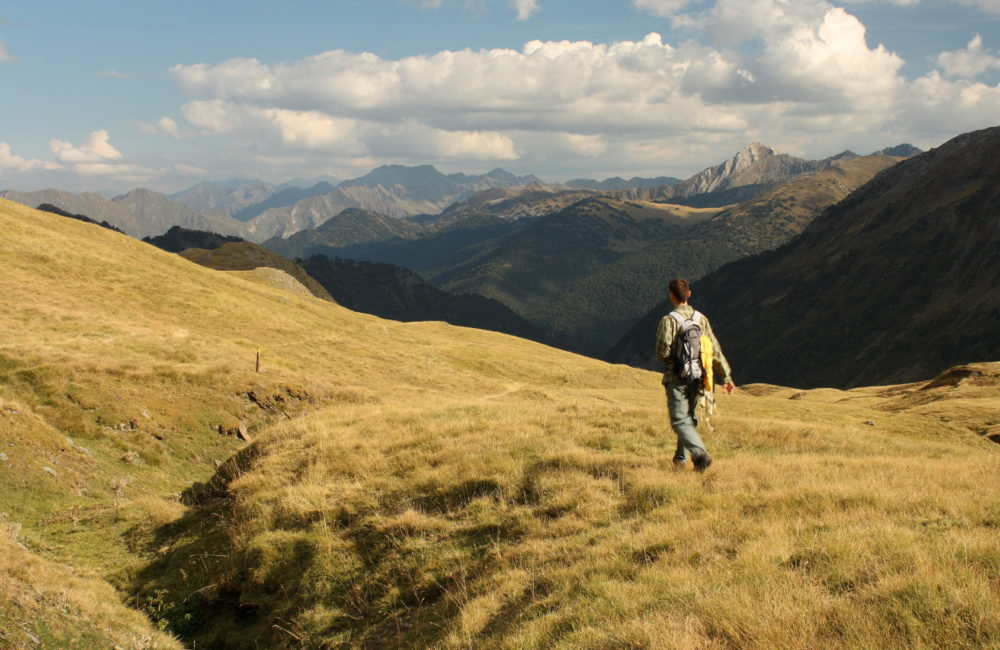 solitary walker in Val d'Aran national park